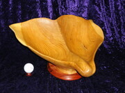 Whale Tail Fruit Bowl - Garry Oak with Mahogany Base